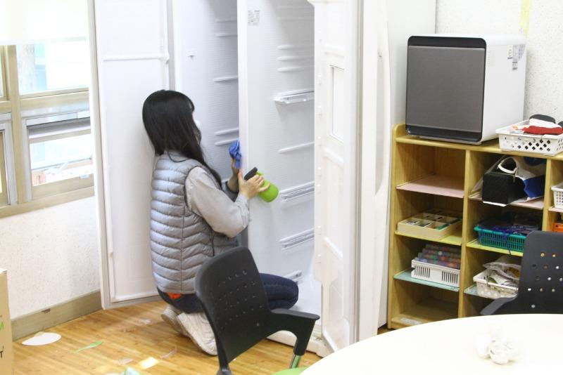 통합활동실 냉장고도 소독했습니다